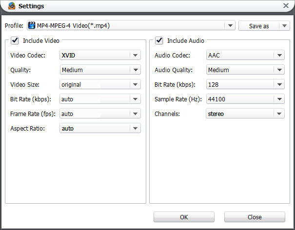 Blu-ray Video Converter Settings